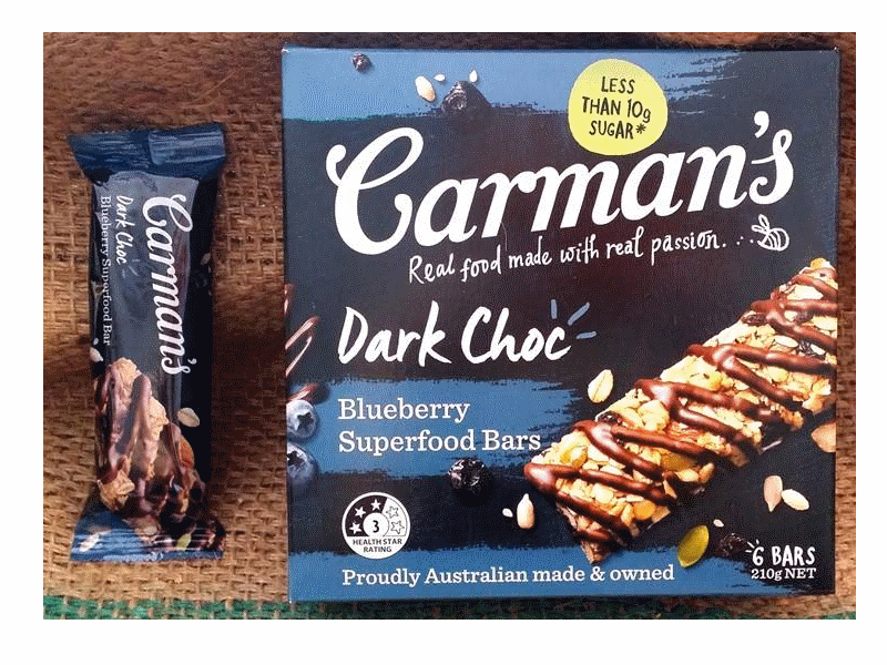 Carman's Dark Choc, Blueberry Superfood Bars (6x35g)