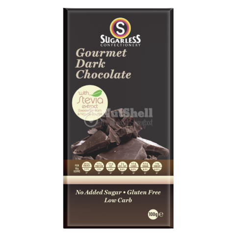 SUGARLESS Dark Chocolate bar 100g (no added sugar, with stevia)
