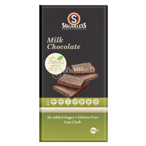 SUGARLESS Milk Chocolate bar 100g (no added sugar, with stevia)