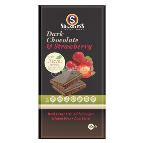 SUGARLESS Dark Chocolate Strawberry 100g (no added sugar, with stevia)